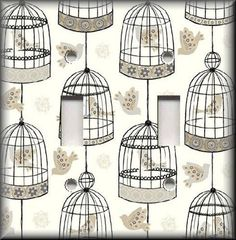 Light Switch Plate Cover - Birds Bird Cages - Black Grey Tan - Home Decor