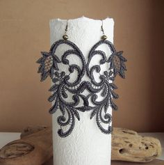 Azalea lace earrings charcoal grey