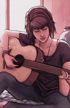 Max playing her guitar.