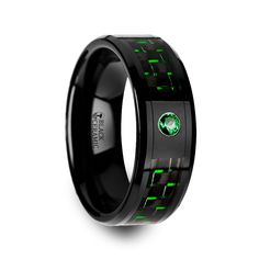 Shop for Hadar Black Ceramic Ring With Black And Green Carbon Fiber And Green Emerald Setting. Get free delivery On EVERYTHING* Overstock - Your Online Jewelry Destination! Batman Wedding Rings, Celtic Wedding Rings, Black Rings, Wedding Ring Bands, Mens Emerald Rings, Emerald Cut, Emerald Green, Sydney Black, Necklaces