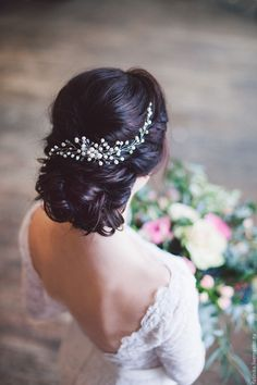 Купить Свадебный гребень из речного жемчуга / свадебное украшение - белый, гребень, гребень для волос