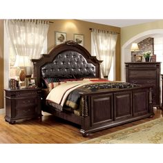 Furniture of America Angelica English Style Brown Cherry Bedroom Set Queen Cottage Furniture, Bedroom Furniture Stores, Furniture Deals, Online Furniture, Bedroom Decor, Bedroom Ideas, King Furniture, Bedroom Dressers, Furniture Websites