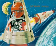 Laika | An illustrated stamp featuring Laika in Sputnik II orbiting the earth.