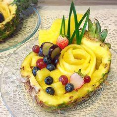 フルーツカッティング2(*^^*)♡ これはパイナップルでバスケット共にお花を作りました。 *  #food #クッキングラム #art #IKEA…