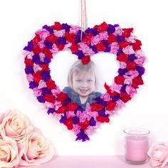 This heart wreath frame will look lovely hanging in your home personalised with a loved one's photo. It also makes a lovely gift for family and friends, especially on Valentine's and Mother's Day. Mothers Day Crafts, Valentine Day Crafts, Valentines, Heart Wreath, Craft Free, Frame Wreath, Child Love, Gifts For Family, Mother Gifts