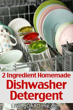 Cleaning tips 2 Ingredient Homemade Dishwasher Detergent Recipe: 1 cup baking soda/washing soda 1 cu Diy Cleaners, Household Cleaners, Cleaners Homemade, Household Tips, Homemade Cleaning Supplies, Cleaning Recipes, Cleaning Hacks, Homemade Products, Homemade Dishwasher Detergent