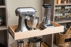 Tip of the Day: Free up precious counter space by storing bulky kitchen appliances in easily accessible pantry drawers.