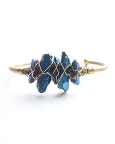 Blue Crystal Wire Cuff