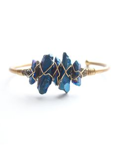 Blue Crystal Wire Cuff