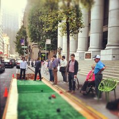 parking day installation w 2x4 reclaimed wood bench in san francisco