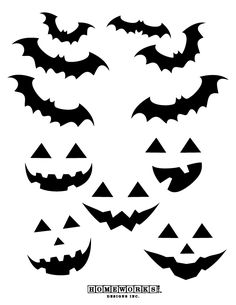 FREE Halloween Printable bat and pumpkin face designs. Great for 10 easy crafts from paper to pumpkins.