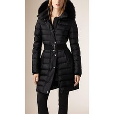 Burberry Down-Filled Sateen Puffer with Fur Trimmed Hood ($1,960) ❤ liked on Polyvore featuring outerwear, coats, puffy coat, down filled puffer coat, burberry, burberry coat e puff coat