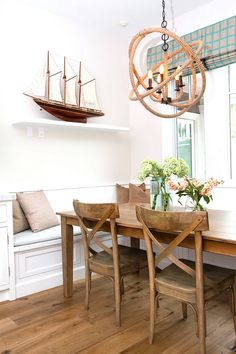 Rope Orb Chandelier, Coastal kitchen nook with Rope Orb Chandelier. Rope Orb Chandelier #RopeOrbChandelier #Ropechandelier #Orb #Chandelier #OrbChandelier A.S.D. Interiors