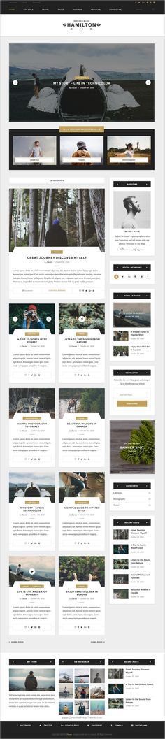 Hamilton is a Hipster #Photoshop #Template for your magazine or personal #blog: Travel, Life Style, and Storytelling websites with 9 homepages and 23 PSD pages download now➩ https://themeforest.net/item/hamilton-hipster-blog-psd-template/19219118?ref=Datasata