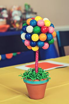 Check out this awesome gumball topiary at a Candyland party!  See more party ideas at CatchMyParty.com!  #partyideas #candy