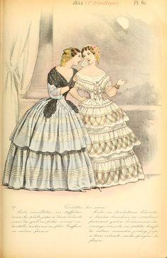 Victorian Era Fashion, 1850s Fashion, Victorian Women, Vintage Fashion, 19th Century Fashion, Historical Costume, Fashion Plates, European Fashion, Fashion History