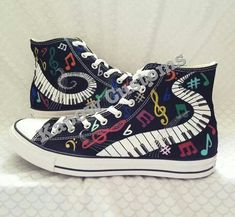 Let the Music play custom Converse Cool Converse, Custom Converse, Outfits With Converse, Converse Sneakers, Custom Shoes, Converse All Star, Vans, Designer High Heels, Designer Shoes