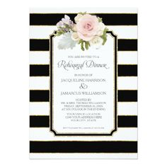 Rehearsal Dinner Striped Modern Floral faux Gold Card