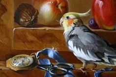 Artist has a rare skill.  Still Life with Birds - (detail) oil on linen - Maroger medium - by W. Scott Broadfoot