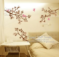 Pink Cherry Blossom Wall Decals White Flower Vinyl Mural Nature - Yellow flower wall decals