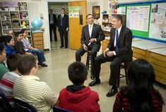 U.S. President Barack Obama and Secretary of Education Arne Duncan (R) visits with sixth grade students at the Graham Road Elementary School January 19, 2010 in Falls Church, Virginia. Following his meeting with students the President  deliver'ed remarks on his 'Race to the Top' program and his request for an additional $1.35 billion in 2011 for the program. Getty