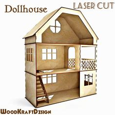 Dollhouse . Vector model for laser cut. Instant download.Doll house kit.Wooden dollhouse