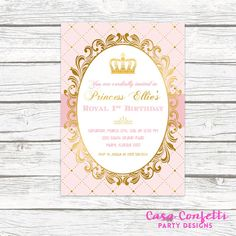 Pink and Gold Princess Birthday Party Invitation by CasaConfetti