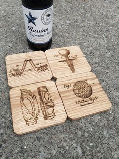 Golf Gift Oak Wooden Coasters Set of 4 by ReImagineBrewing on Etsy