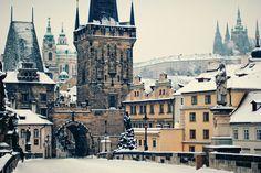 Prague, Czech republic  Charles Bridge, Super cold morning, 2010