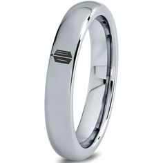 Doctor Who Tardis Polished Silver Tungsten Ring