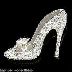 W Swarovski Crystal Cinderella Glass Slippers High Heel Shoes Fairy Pin Brooch Silver Heels Prom, Prom Heels, Wedding Heels, Cinderella Wedding Shoes, Cinderella Slipper, Real Cinderella, Bling Shoes, Shoes Heels, Heeled Sandals
