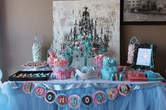french paris themed gender reveal baby shower in pink and blue dessert table complete view
