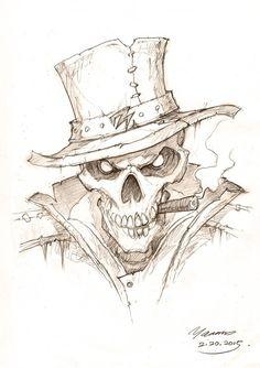 By bone, by skull, by justice! by YanmoZhang Bone detective. By bone, by skull, by justice! by YanmoZhang See it Dark Art Drawings, Pencil Art Drawings, Art Drawings Sketches, Cool Drawings, Drawings Of Skulls, Tattoo Sketches, Skull Tattoo Design, Skull Tattoos, Skull Design