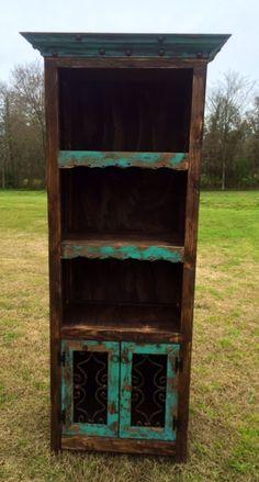 Handmade Rustic Bookshelf Hutch in Turquoise and Dark Stain www.gugonline.com Price:$449.95
