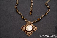 New Steampunk Clock Amulet  necklace medaillon czech by SpinnWeben