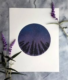 Night Stars Print Original 11x14 handmade block print