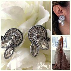 Soutache Earrings, Diamond Earrings, Shibori, Bride Look, Handmade Jewelry, Brooch, Embroidery, Boards, Amor