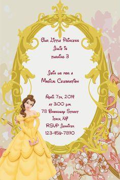 Girls Beauty and the Beast Princess Printable Birthday Party Invitation Digital Print