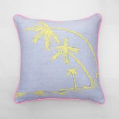 Maker and Merchant Grey linen hand dyed hand painted cushion with yellow palm trees