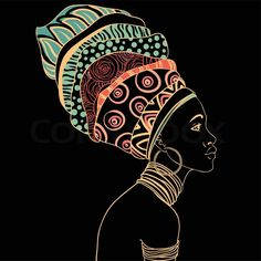 Stock vector of 'Portrait of beautiful African woman with earring (profile view) '
