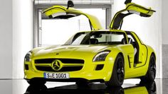 Mercedes-Benz SLS AMG E-Cell Gullwing. Zero to 60 in 4 seconds, gullwing doors, general Mercedes awesomeness.