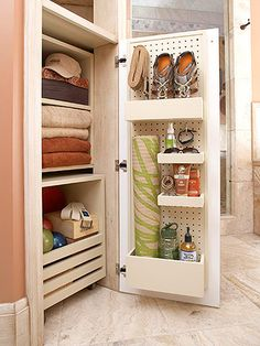 Workout gear storage - all in one place in the bathroom. Very smart!