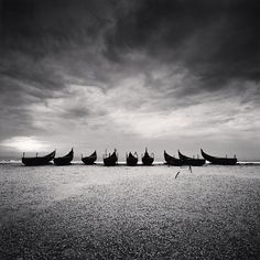 Michael Kenna - Nine Boats, Andakarnnazi Beach, Kerala, India, 2008