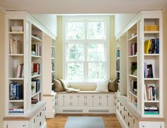 LOVE the window seat library idea! I definitely want some type of library in my home one day.