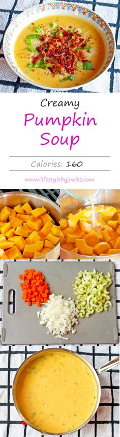 Skinny & Creamy Pumpkin Soup #healthy #comfort