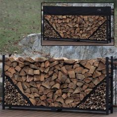 Straigth Firewood Log Rack with Kindling Kit with Cover Size: 8 ft.
