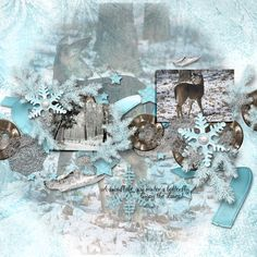 """Frosty by Rossi Designs can be found at www.myscrapartdigital.com and www.godigitalscrapbooking.com.  Photo """"Snowy Forest"""" by Oscar & Ceara. Deer stock images both found at Deviant Art."""