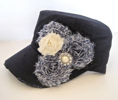 Navy Cadet Military Distressed Hat with Blue and by theraggedyrose, $35.00
