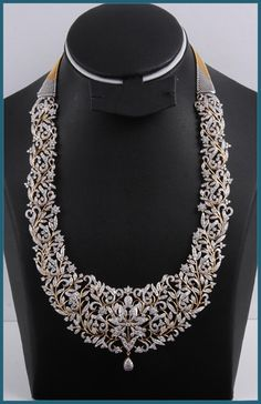 This is an extremely elegant Diamond long necklace. The necklace is made of floral pattern. The entire necklace is lavishly studded with sparkling diamonds. I Love Jewelry, Fine Jewelry, Jewelry Design, Diamond Jewelry, Gold Jewelry, Jewelry Necklaces, Diamond Rings, Gold Rings, Diamond Choker