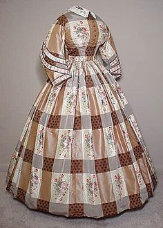 Brown plaid silk taffeta dress with ribbon appliqué, c.1860-65. In this case, the plaid has been created with several different types of fabric, rather than woven into the fabric.